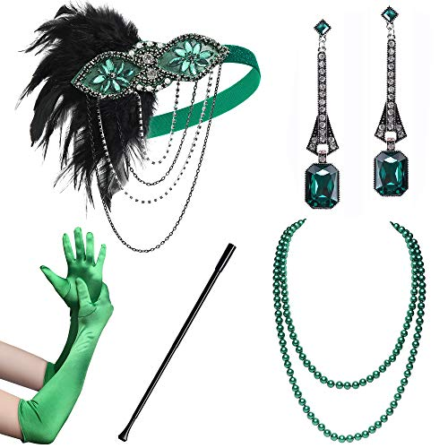 Coucoland Juego de accesorios para mujer de los aos 20, incluye diadema, collar, guantes, pendientes y soporte para cigarrillos (set de 9)