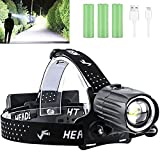 Rechargeable Headlamp, 90000 Lumens LED Headlamps for Adults, Hunting Headlamp Flashlight with Batteries Included, Zoomable, 3 Modes, Waterproof Headlight for Hunting Running Fishing Biking