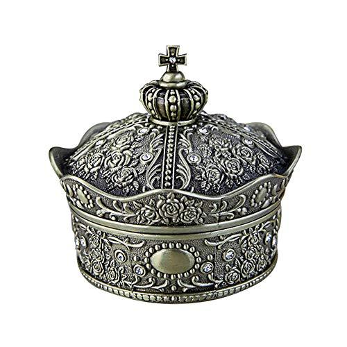 joyeros,Joyero de corona retro de estilo europeo, creativo y exquisito caja de almacenamiento de princesa rosa con incrustaciones de diamantes, color de estaño antiguo