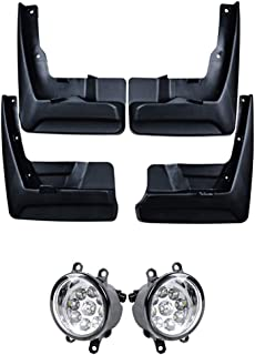 Astra Depot 4X Front & Rear Mudguard Mud Flaps Splash Guards and 2X Xenon White Front Bumper LED Driving Fog Light Lamp H8 H9 H11 Glass Lens Compatible with 2011-2014 Toyota Sienna