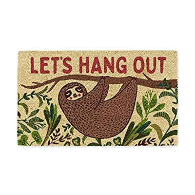DII Fun Greetings Home Décor Indoor/Outdoor Natural Coir Fiber Doormat, 18x30, Hang Out Sloth