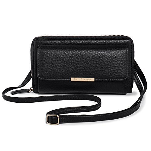 Sac de Téléphone Femme, Katloo Petite Sac Bandouliere PU Cuir Portefeuille pour Telephone Portable iPhone X Max XS XR 11 Pro Samsung Galaxy Note S20 Ultra S20 Plus + Coupe-ongles (Noir)