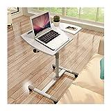 FHT Tavolino Divano con Ruote Tavolo Carrello con Ruote Tavolino Porta PC Notebook Proiettore Laptop con Rotelle Altezza Regolabile per Casa e Ufficio (Color : White)