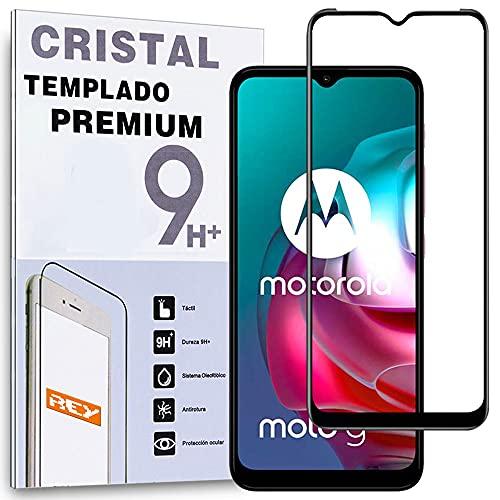 REY Protector de Pantalla Curvo para Motorola Moto G30 - Moto G10 - Moto G10 Power, Negro, Cristal Vidrio Templado Premium, 3D / 4D / 5D, Anti Roturas