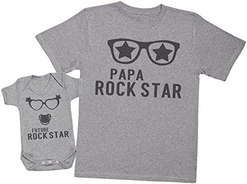 Future Rock Star Fille - Ensemble Père Bébé Cadeau - Hommes T-Shirt & Body bébé - Gris - XL & 3-6 Mois