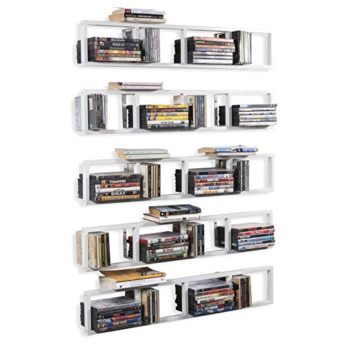 YouHaveSpace White Floating Shelves for Wall, 34 Inch Video Games CD DVD Storage Shelves, Metal Media Storage Shelf Set of 5
