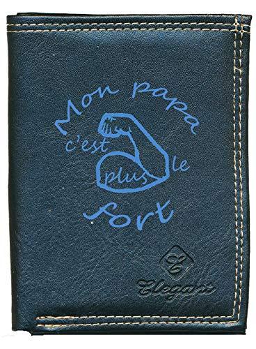 Pochette Etui Petit Portefeuille Homme, Porte Monnaie, Cartes, papiers Papa Le Plus Fort Fete des Peres