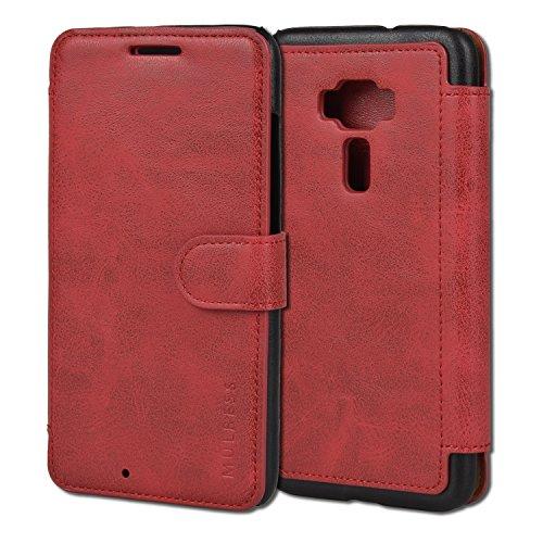Mulbess Handyhülle für Asus ZenFone 3 ZE552kl Hülle Leder, Asus ZenFone 3 ZE552kl Handytasche, Layered Flip Schutzhülle für Asus ZenFone 3 ZE552kl Hülle, Wein Rot