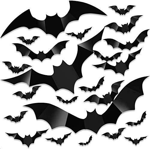160 Stück Halloween 3D Fledermäuse Dekoration, 8 Verschiedene Größen PVC Fledermäuse Deko Flügel Faltbar für Halloween Decor DIY Fenster Wanddekoration (groß)