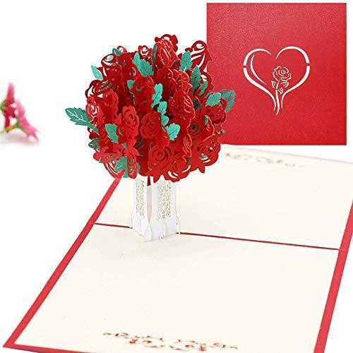 IWILCS Tarjeta Regalo de 3D Pop-up, Tarjeta de Felicitación 3D Pop-up, Tarjeta para el día de San Valentín, arjeta Pop-Up Rosas Rojas para Novios, Novias, Aniversario, Navidad