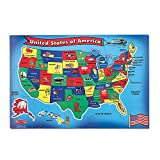 """Melissa & Doug USA (United States) Map Floor Puzzle (Wipe-Clean Surface, Teaches Geography & Shapes, 51 Pieces, 24"""" L x 36"""" W, Great Gift for Girls and Boys - Best for 6, 7, 8 Year Olds and Up)"""