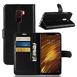 EYYC Xiaomi Pocophone F1 Wallet Tasche Hülle - Ledertasche im Bookstyle in Rose - [Ultra Slim][Card Slot][Handyhülle] Flip Wallet Hülle Etui für Xiaomi Pocophone F1 (Schwarz)
