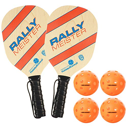 Rally Meister Pickleball Paddle 2 Player Bundle - 2 Wood Paddles & 4 Balls - Beginner Pickleball Set