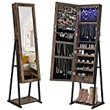 SONGMICS Industrial Jewelry Cabinet Armoire, 6 LEDs Mirrored Jewelry Storage, Wood Look with Stable Metal Frame, Easy Assembly, Rustic Brown UJJC95BC