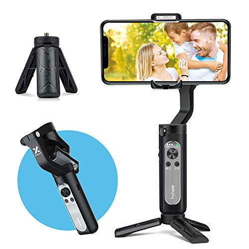 3-Axis Gimbal Stabilizer for Smartphone, Foldbale Phone Gimbal Handheld Stabilizer Video Vlog Youtuber Live Record for iPhone Android Phones, Ultra-Light Weighted w/Auto Inception Dolly Zoom (Black)