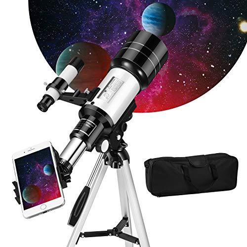 Kacsoo 天体望遠鏡 子供 初心者 70mm大口径 300mm焦点距離 高倍率 150倍 スマホ撮影 三脚付き 星座早見 天体観測 好奇心 知識への渇望 子供プレゼント