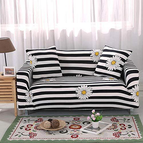 Funda de sofá de 3 Plazas Funda Elástica para Sofá Poliéster Suave Sofá Funda sofá Antideslizante Protector Cubierta de Muebles Elástica Margarita pequeña línea Negra Funda de sofá