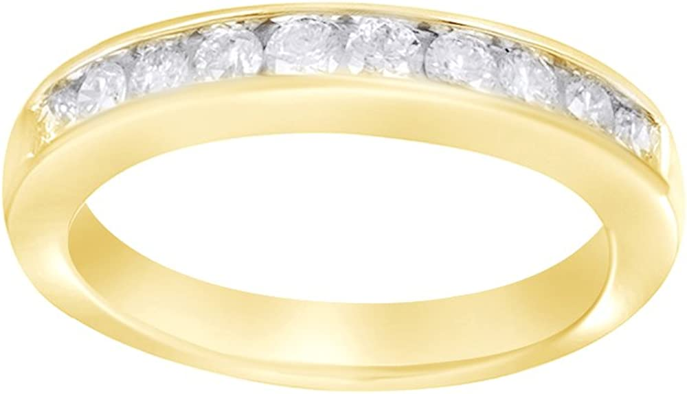 AFFY White Natural Diamond Anniversary Band Ring in 14k Solid Gold (0.5 Cttw)