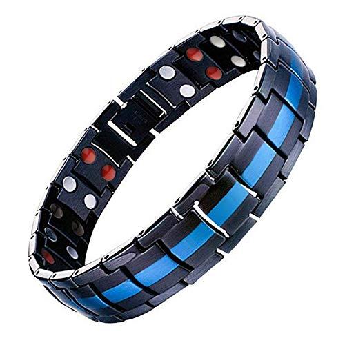 JFUME Braccialetto Magnetico per Uomo in Acciaio Inossidabile Nero Blu Braccialetto 22,6CM Aggiustabile con Lo Strumento di rimozione Link