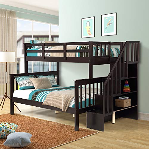 Merax Twin-Over-Full Stairway Bunk Bed, Solid Wood Twin Bunk Bed Frame with Storage and Guard Rail for Kids, Adults, Can Be Divided Into 2 Beds (Espresso)