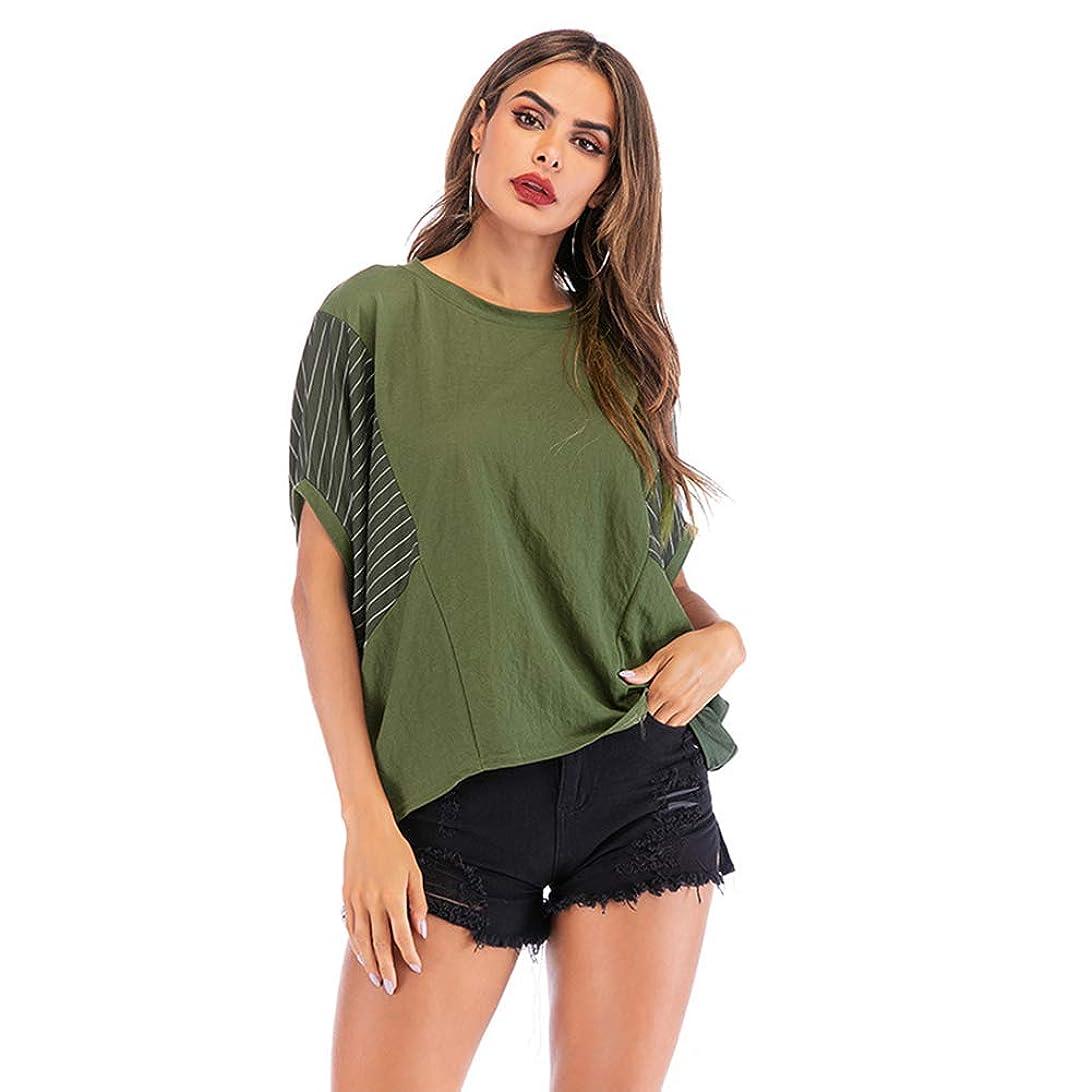黒おなかがすいた議論する夏のバットスリーブスタイルの女性の半袖、ステッチコントラスト不規則な縞模様、ゆったりとした快適な、シンプルな雰囲気,XL
