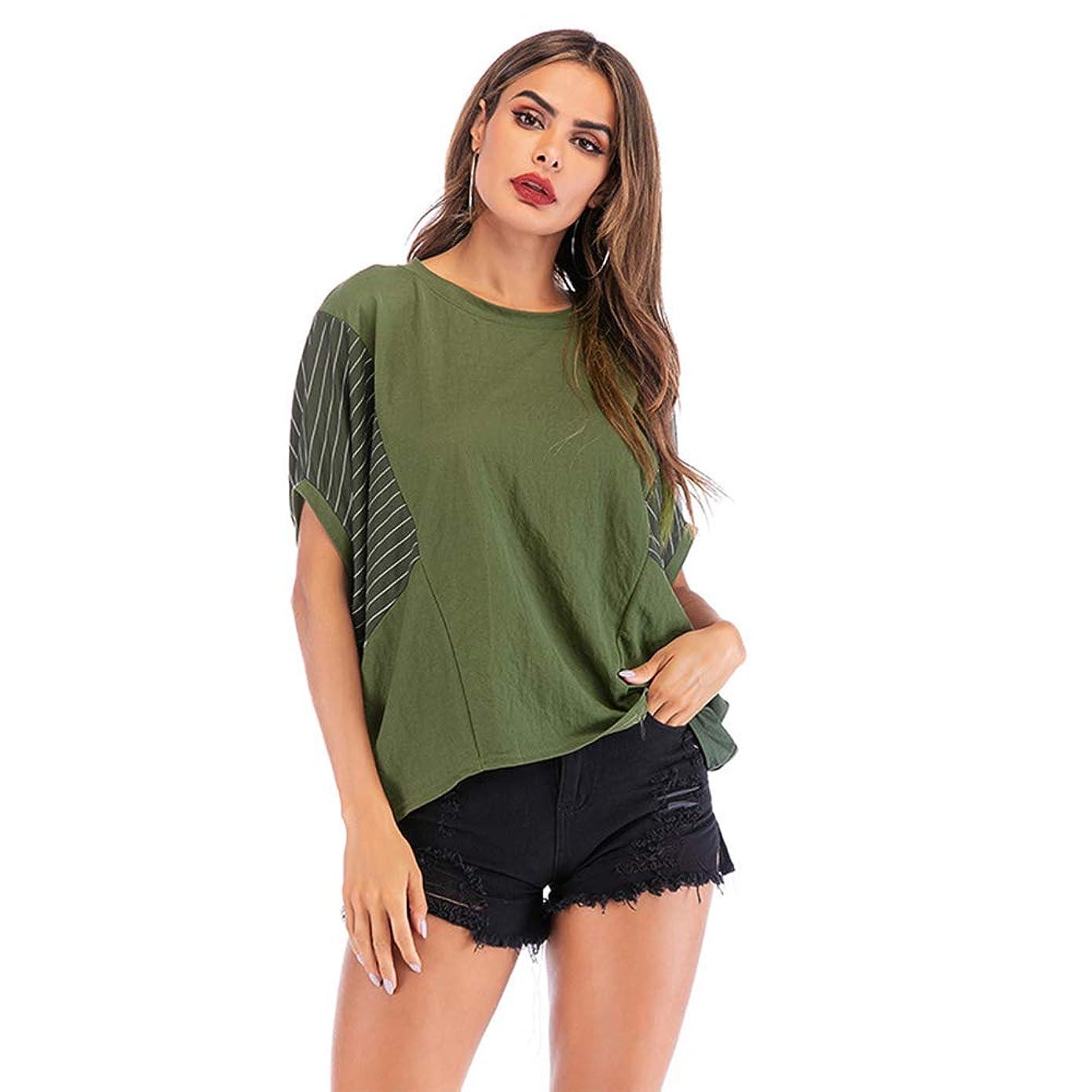 かる芸術詩夏のバットスリーブスタイルの女性の半袖、ステッチコントラスト不規則な縞模様、ゆったりとした快適な、シンプルな雰囲気,XL