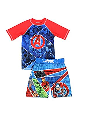 Avengers Superhero Boy's Swim Trunks and Rash Guard Set (Little Kid/Big Kid)