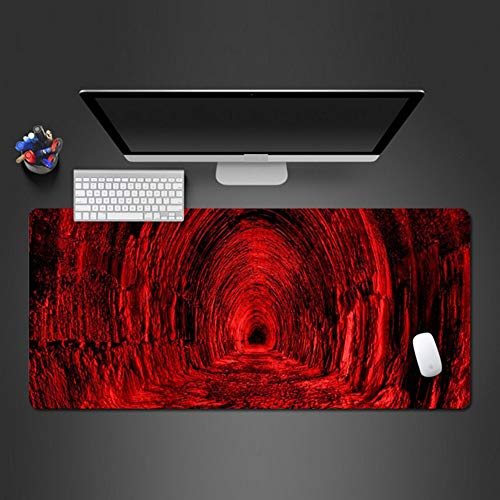 Cool Red Big Mouse Pad Super Vivid Red Rock Tunnel Waterdicht Wasbaar Ontwerp Anti-Slip Mouse Pad Computer Mouse Pad 900 * 400 * 3 Mm