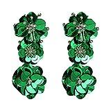 Pendientes colgantes con forma de flor grande exagerada para mujer, elegantes pendientes de boda, grandes y largos, venta caliente Verde