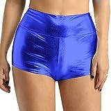 iEFiEL Womens Sexy Shiny Stretchy Metallic Liquid Wet Look High Waist Dance Rave Booty Shorts Hot Pants Blue L