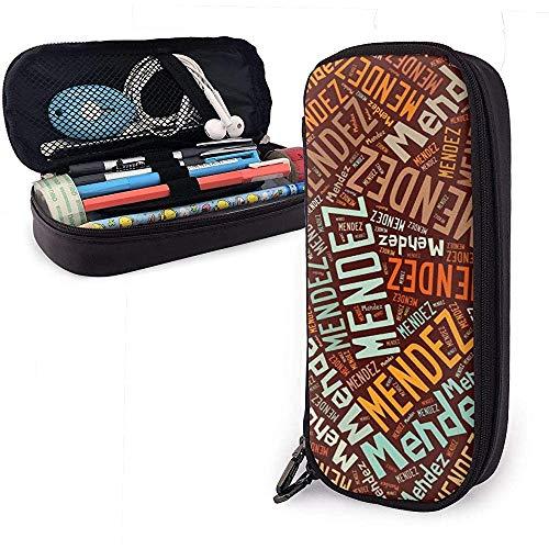 Mendez - Nombre americano Estuche de cuero de alta capacidad Estuche para lápices Organizador de papelería Organizador Bolígrafo de maquillaje Bolso de viaje de viaje