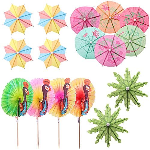 75 Piezas Sombrillas de Cóctel Papel Paraguas de Cóctel Decoración de Cóctel Parasoles de Colorido Accesorios De Cóctel Para Boda Fiesta De Verano Comida