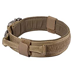 Motusamare Tactical Dog Collar Adjustable Military Training Collars with Control Handle Quick Release Metal Buckle 1.5
