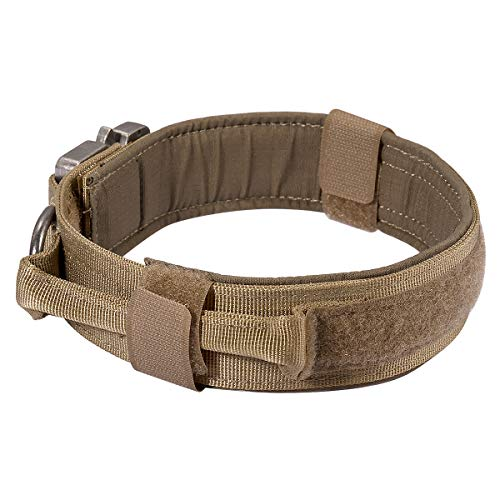 """Modified Version Military Tactical Heavy Duty Nylon Dog Collar Adjustable Training Collars with Control Handle Quick Release Metal Buckle 1.5"""" Motusamare Brown Size M"""