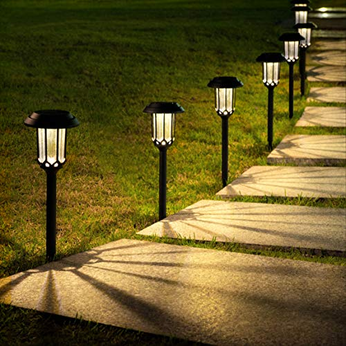 LeiDrail Luces Solares Jardín 8 Piezas LED al Aire Libre Solares Jardin Lamparas Solares Luces de Decoración Impermeable Solar Luces para Pasillo Patio Césped Blanco Cálido