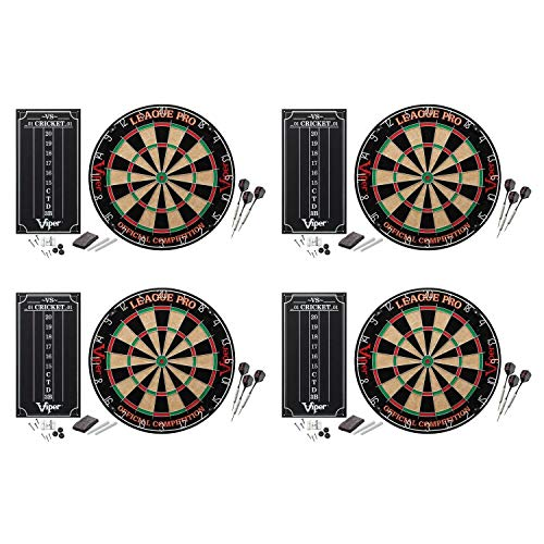 Lowest Prices! Viper Sisal Dartboard Starter Kit with Steel Tip Darts & Scoreboard (4 Pack)