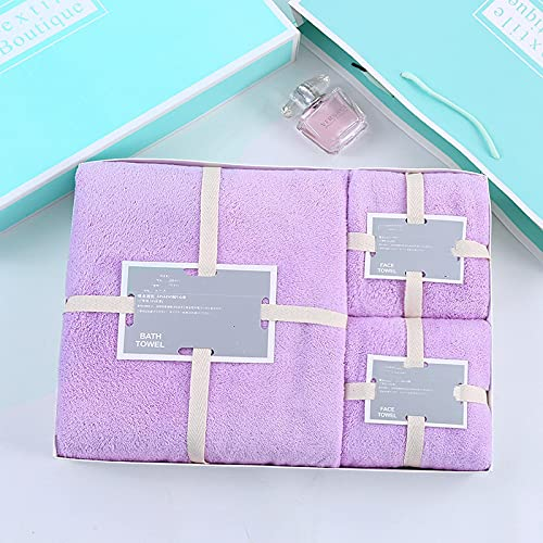Toalla de regalo caja de tres piezas, fuerte absorción de agua, no es fácil de arrojar el pelo, utilizado en toallas de playa, toallas de baño y toallas del hogar. Taro Purple (caja de regalo)