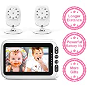 """4.3"""" Video Baby Monitor with 2 Cameras, Auto-Switch Cameras, Up to 8 Hours 1200mAh Rechargeable Battery, Doggie Camera, 2-Way Talk, Power Saving/VOX, Zoom in, Night Vision, Temperature and Lullabies"""
