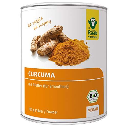 Raab Vitalfood Bio Curcuma-Pulver mit Curcumin und Piperin aus schwarzem Pfeffer, ohne Zusätze, vegan, hergestellt & laborgeprüft, 100 g