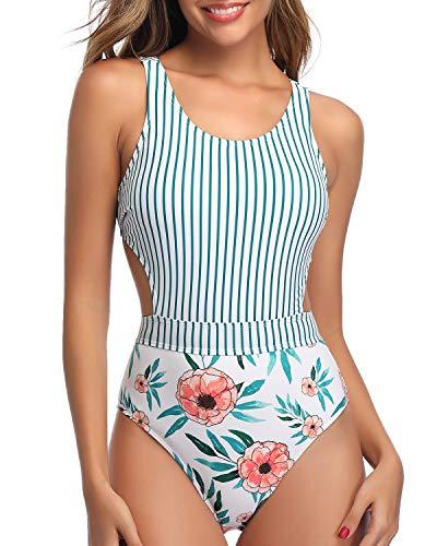 Tempt Me Women White Stripe One Piece Cutout Swimsuit High Neck Floral Tummy Control Monokini Bathing Suit S