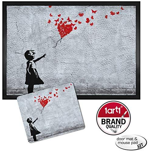 1art1 102664 Mädchen - Mädchen Mit Luftballon Und Schmetterlingen, Banksy-Style Fußmatte Türmatte (Bundle 50 x 70 cm)