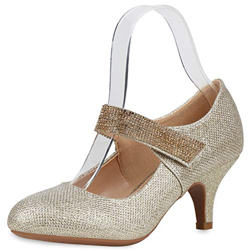 SCARPE VITA Damen Mary Jane Pumps Stiletto Riemchenpumps Glitzer Party Schuhe Spangenpumps Mid Heel Abendschuhe Strass Absatzschuhe 187660 Gold 41