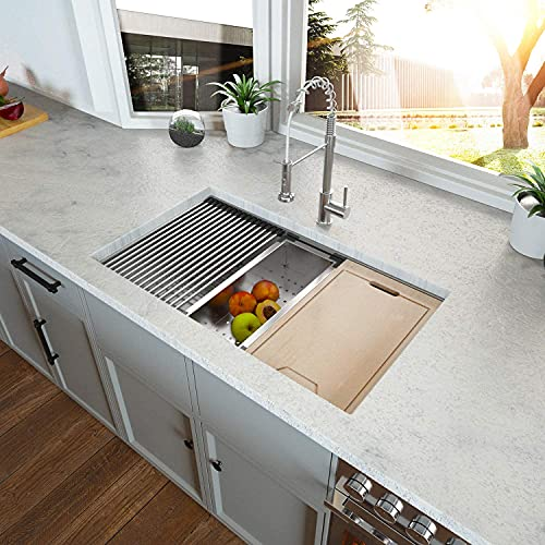 """Kitchen Sink Undermount - Kichae 32""""x19"""" Undermount 18 Gauge Stainless Steel Deep Single Bowl Ledge Workstation Kitchen Sink Basin"""