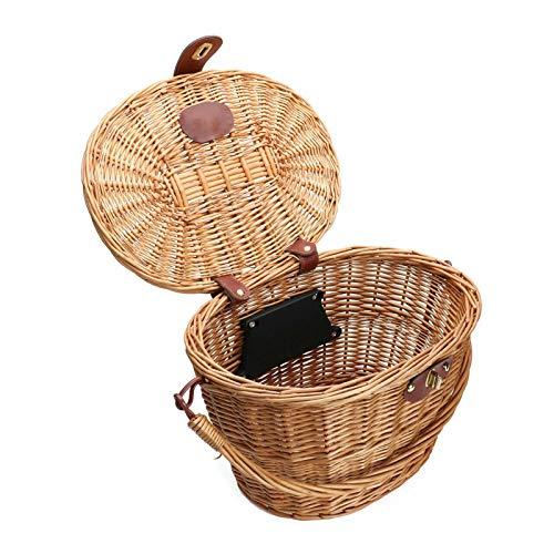 Cestas de ciclismo, cesta de mimbre para bicicletas, cestas de mimbre para la compra de bicicletas con tapa, para transporte de mascotas, compras de comestibles, maletín para viajeros, camping al aire