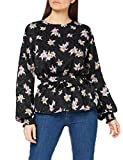 Marca Amazon - find. Blusa Floral con Volante Mujer, Negro (Black), 38, Label: S