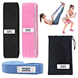 Fabric Exercise Bands for Legs and Butt - Non Slip Resistance Bands Set of 3 - Booty Band with Full Body Long Band - Hip Band Loops for Women - Glute Workout Fitness Equipment at Home