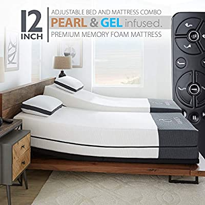 """Ananda 12"""" Pearl and Cool Gel Infused Memory Foam Mattress with Premium Adjustable Bed Frame Combo, Head Tilt, Massage, USB, Zero Gravity,Anti-Snore … (Split King)"""
