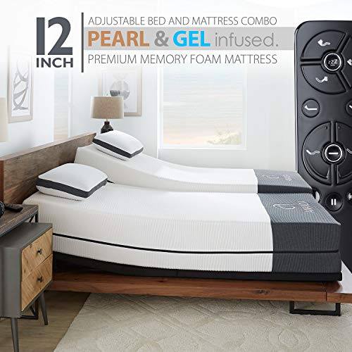"""Ananda 12"""" Pearl and Cool Gel Infused Memory Foam Mattress with Premium Adjustable Bed Frame Combo, Head Tilt, Massage, USB, Zero Gravity,Anti-Snore ... (Split King)"""