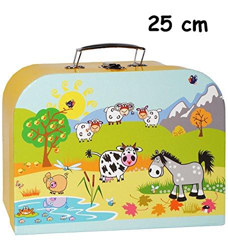 alles-meine.de GmbH 1 Stück _ Koffer / Kinderkoffer - MITTEL -  Tiere - Bauernhof / Schafe  - 25 cm - Pappkoffer - Puppenkoffer - Kinder - Pappe Karton - Tier - Bauernhoftiere ..