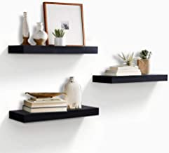 """Best AHDECOR Floating Wall Mounted Shelves, Set of 3 Display Ledge Shelves Wide Panel for Bedroom Office Kitchen Living Room, 5.9"""" Deep, Black Review"""